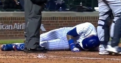 WATCH: Javier Baez goes down in pain after getting drilled by pitch