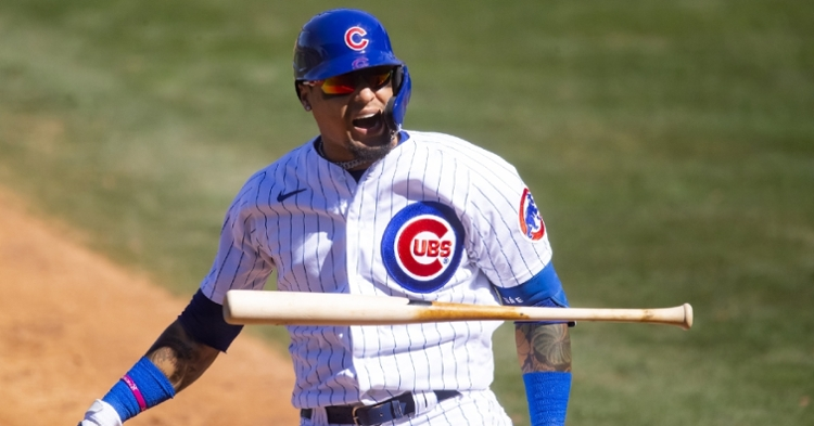 Baez was not happy about getting hit (Mark Rebilas - USA Today Sports)