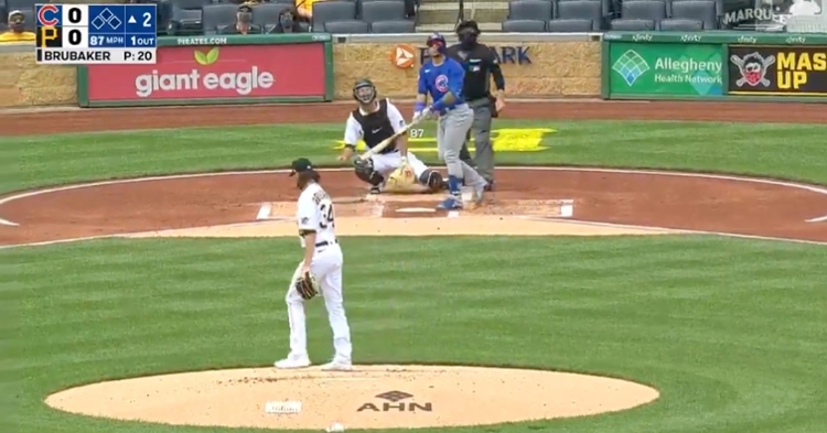 A powerful swing by Javier Baez resulted in a 410-foot solo shot at PNC Park.