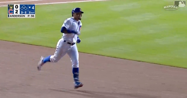 Javier Baez hit the first of back-to-back homers for the Cubs in the fourth inning.