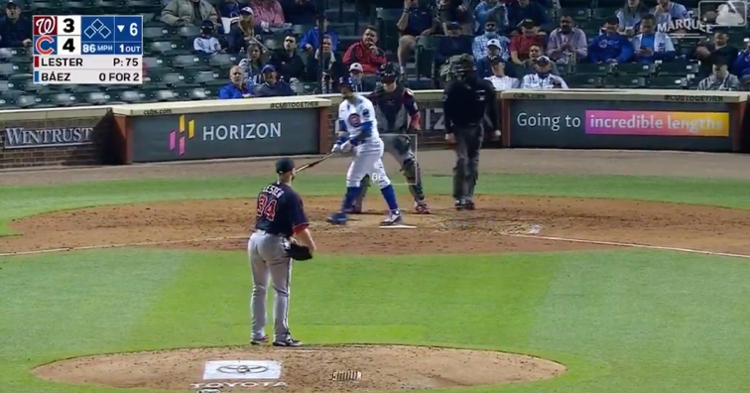 With Jon Lester on the mound, Javier Baez, who now has 27 RBIs, rocketed a 415-foot dinger to the opposite field.