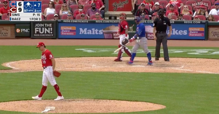 After crushing a no-doubter, Javier Baez made sure to ogle his masterpiece before heading up the baseline.