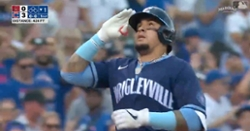 WATCH: Javier Baez crushes 424-foot three-run bomb in first inning