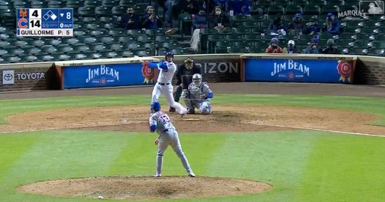 Javier Baez hit left-handed against a position player and flied out to the opposite field.