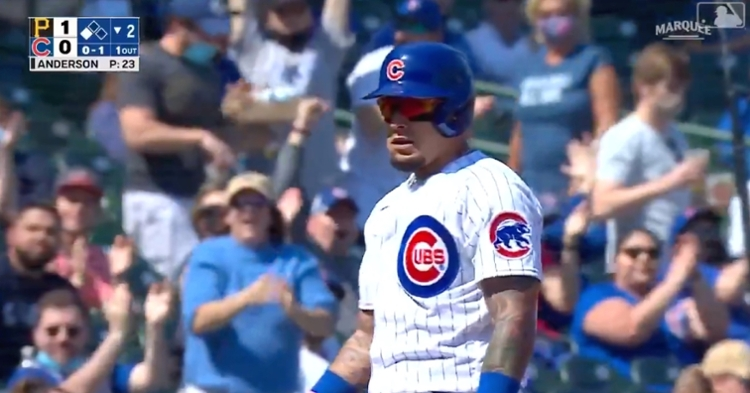 Javier Baez stole two bases in the same inning and then scored on a bloop single.