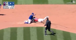 WATCH: Willson Contreras fires to Javier Baez for 'strike 'em out, throw 'em out'