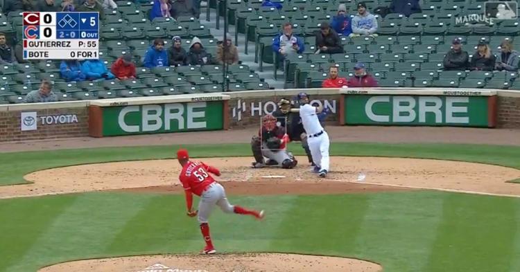 Cubs third baseman David Bote tagged Reds starter Vladimir Gutierrez for Gutierrez's first home run given up as a big leaguer.