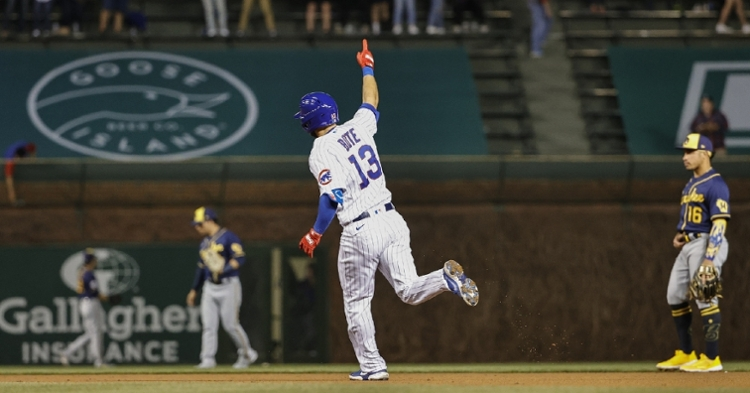 The Cubs powered out three home runs in the bottom of the fourth, including a solo shot by David Bote. (Credit: Kamil Krzaczynski-USA TODAY Sports)