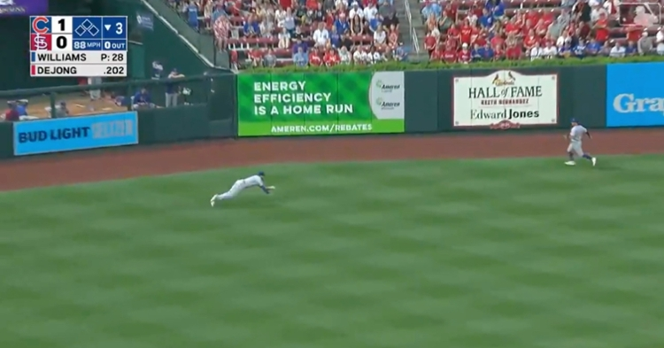 While playing in left field, Kris Bryant laid out and gloved a line drive hit by Paul DeJong.
