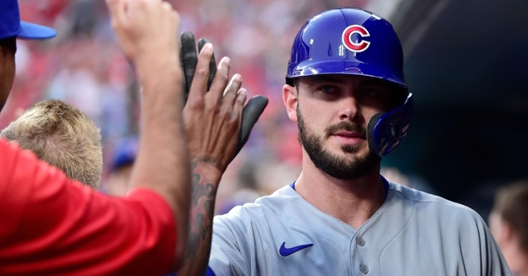 Prior to being removed, Kris Bryant scored the Cubs' only run of Tuesday's game. (Credit: Jeff Curry-USA TODAY Sports)