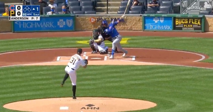 Kris Bryant drove a 91-mph four-seamer out to straightaway center field.