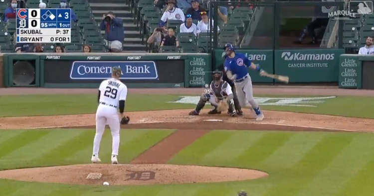 """With an """"oppo taco,"""" Kris Bryant recorded his 10th home run and 24th extra-base hit of 2021."""