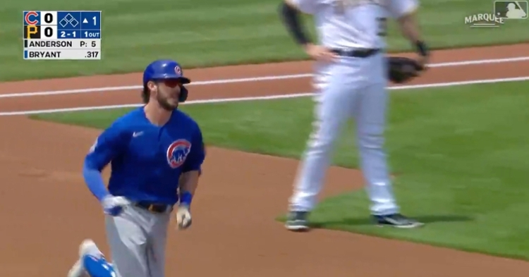 With a first-inning solo shot, Kris Bryant took Tyler Anderson deep for the fourth time in his career.