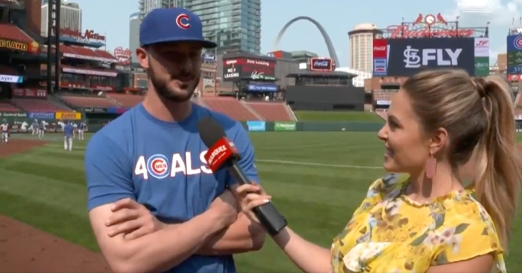 In an interview with Taylor McGregor, Kris Bryant credited his wife, Jessica, with helping make his baseball career a success.