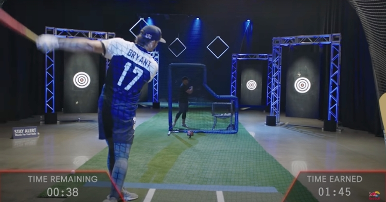 In a promo for Red Bull, Cubs third baseman Kris Bryant's hand-eye coordination was tested through a series of timed precision drills.