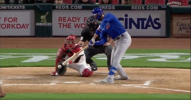 As seen here, Kris Bryant did not make contact on a checked swing that was ruled a foul tip.