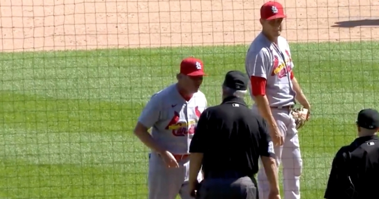 Joe West forced Giovanny Gallegos to change his hat before he started pitching, and Mike Shildt did not take kindly to that.