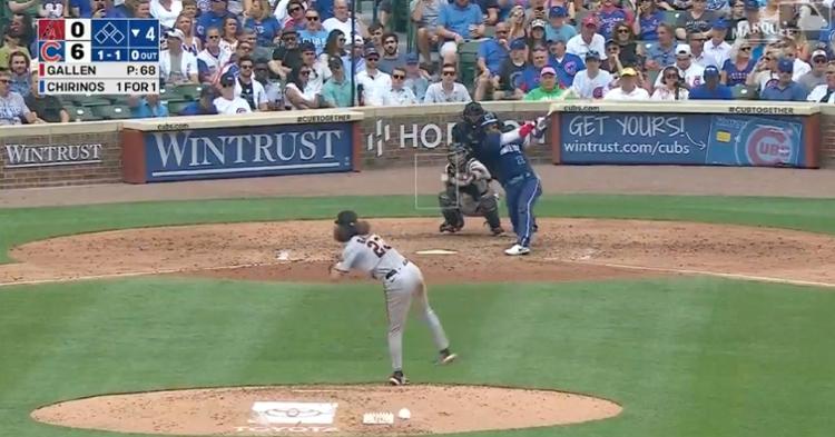 Cubs catcher Robinson Chirinos swatted a 408-foot leadoff dinger into the left-center field bleachers.