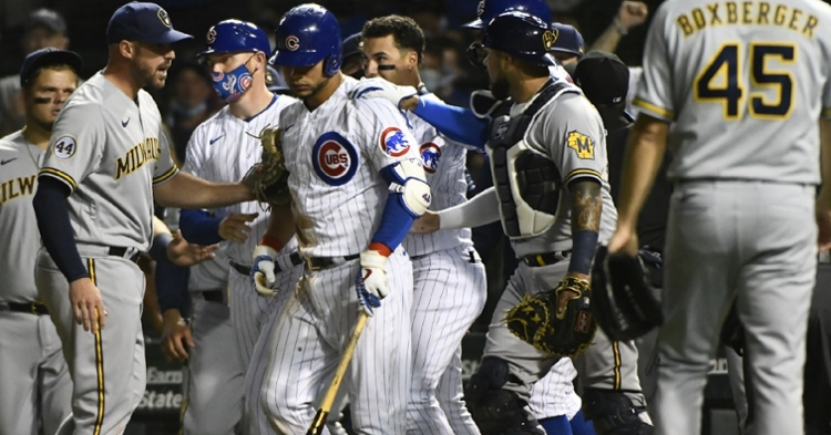 Willson Contreras was fined for causing the benches to empty at Wrigley Field on Tuesday. (Credit: Matt Marton-USA TODAY Sports)