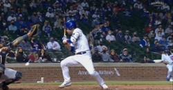WATCH: Willson Contreras hit in head by pitch, has helmet knocked off