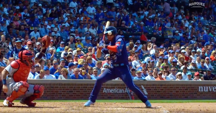 Willson Contreras somehow avoided being injured when a 98-mph pitch knocked his batting helmet off.