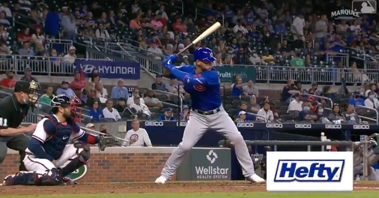 Willson Contreras hit a 456-foot home run that sported an exit velocity of 114.3 mph and a launch angle of 24 degrees.