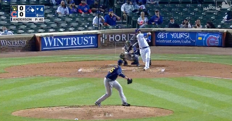 Willson Contreras broke a scoreless tie with his first home run of the year.
