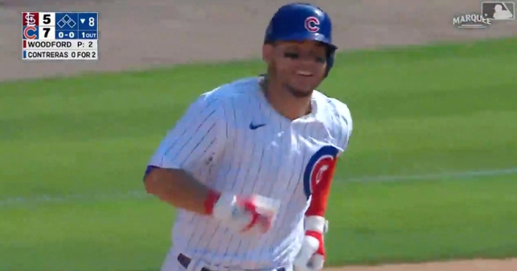 Willson Contreras was all smiles as he rounded the bases after hitting his 11th homer of the year.
