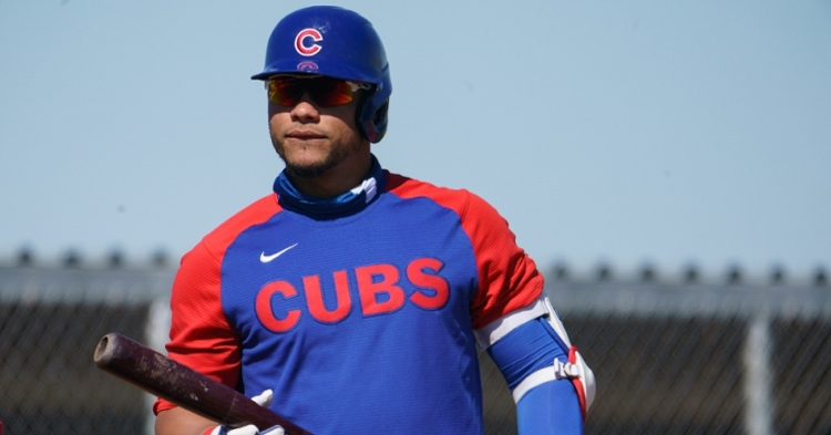 Cubs catcher Willson Contreras left Friday's game after suffering an injury in the fifth inning. (Credit: Allan Henry-USA TODAY Sports)