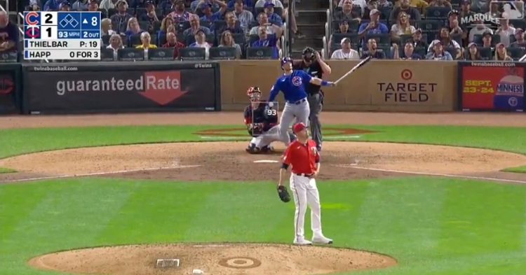 Switch hitter Ian Happ slugged a 437-foot solo homer from the right side of the plate and now has 42 RBIs on the year.