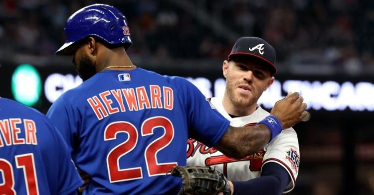 Heyward talking to his good friend Freddie Freeman (Jason Getz - USA Today Sports)