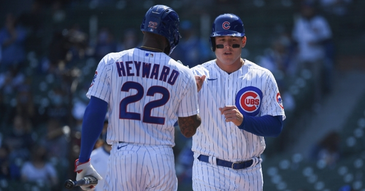 Heyward and Rizzo celebrating after a score (Quinn Harris - USA Today Sports)