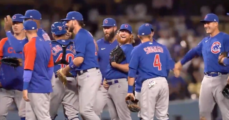 Craig Kimbrel celebrated with his teammates after completing the combined no-hitter in the bottom of the ninth.