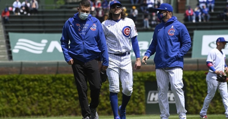 Jake Marisnick strained his right hamstring in the first inning of the Cubs' loss on Sunday. (Credit: Matt Marton-USA TODAY Sports)