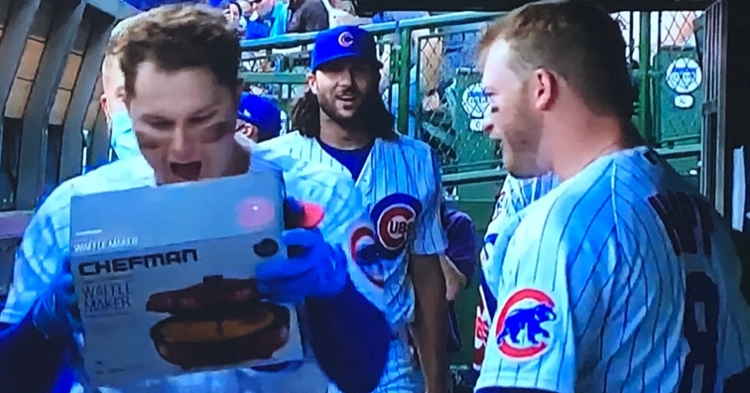 Joc Pederson was thrilled to receive a waffle maker after hitting his first home run as a Cub. (Credit: @SLGreenberg on Twitter)
