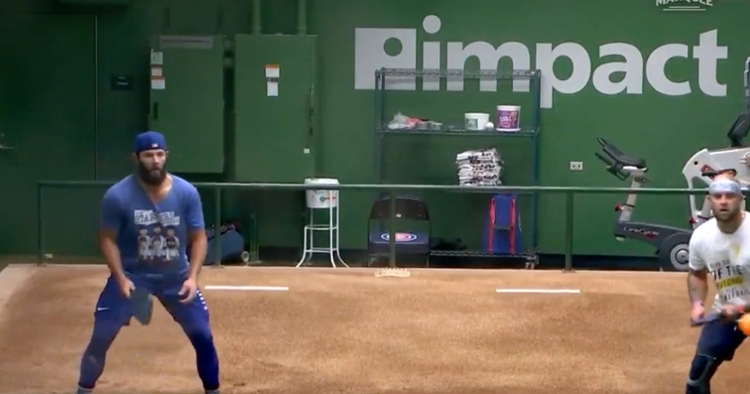 Jake Arrieta and Mike Napoli were partners for what appeared to be an intense pickleball battle.