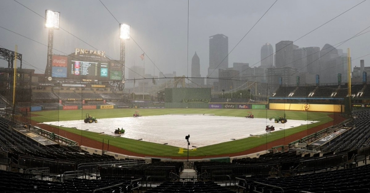 Rain in Pittsburgh delayed the start of Wednesday's Cubs-Pirates game at PNC Park. (Credit: @Cubs on Twitter)