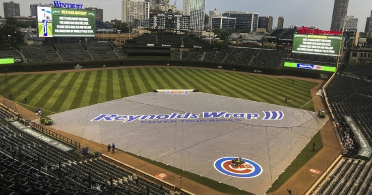 A weather delay occurred with the Cubs trailing the Diamondbacks 7-2 midway through the ninth inning. (Credit: Matt Marton-USA TODAY Sports)