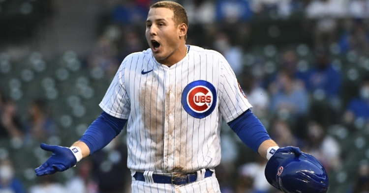 Anthony Rizzo's frustration over a correct strike-three call that did not go his way sums up a frustrating loss for Chicago. (Credit: Matt Marton-USA TODAY Sports)