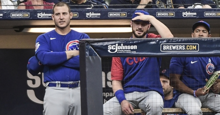 Rizzo and Bryant watch the Cubs lose again to the Brewers (Benny Sieu - USA Today Sports)