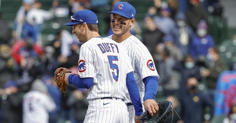Rizzo and Duffy happy after the victory (Kamil Krzaczynski - USA Today Sports)