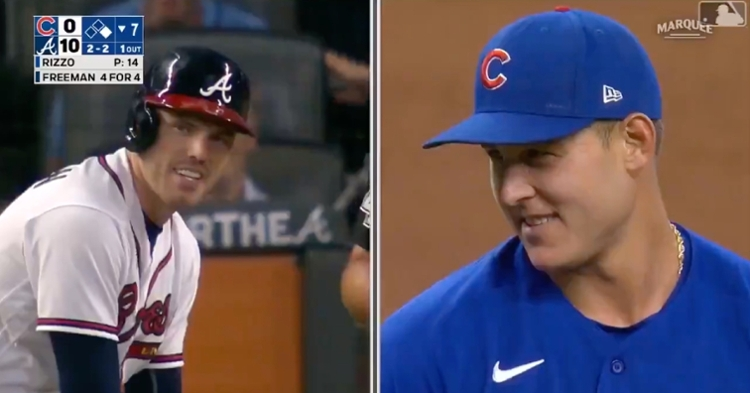 Anthony Rizzo's career ERA remained at 0.00 when he struck out fellow first baseman Freddie Freeman.