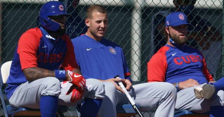 Heyward and Rizzo watching during workouts (Allan Henry - USA Today Sports)