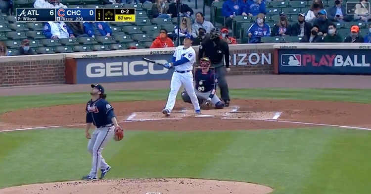 Anthony Rizzo drove his second homer of the year into the left field bleachers.