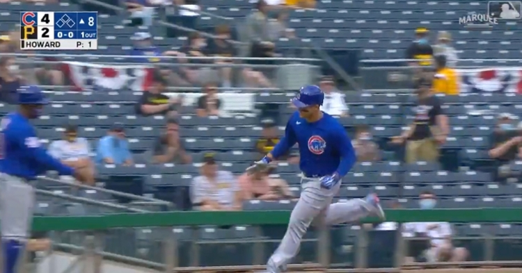 Anthony Rizzo's first home run of the season was lined out of PNC Park in a flash.