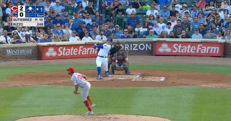 Anthony Rizzo, who now has 40 RBIs, is only the second Cub to homer in the first inning of three straight games.