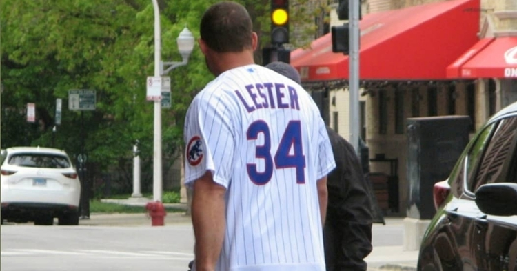 Anthony Rizzo paid homage to Jon Lester by wearing Lester's jersey. (Credit: @sambernero on Twitter)