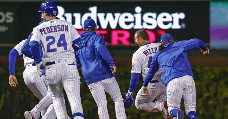 The Cubs celebrated after the sweep of the Dodgers (Kamil Krzaczynski - USA Today Sports)