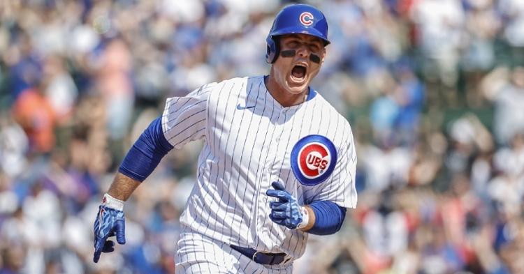 Rizzo showed some emotion after his homer (Kamil Krzaczynski - USA Today Sports)