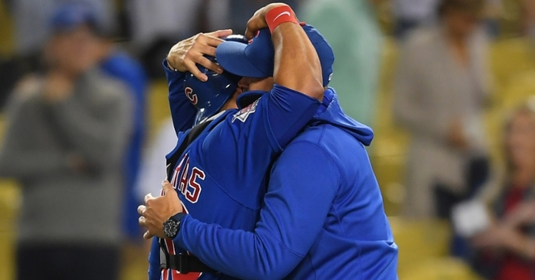 Contreras and Ross embrace after the no-hitter (Jayne Kamin Oncea - USA Today Sports)